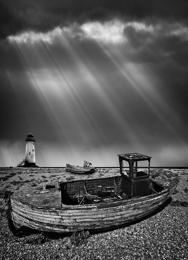 Black And White Photograph - Fishing Boat Graveyard 11 by Meirion Matthias