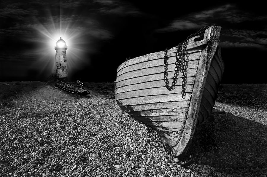 Lighthouse Photograph - Fishing Boat Graveyard 5 by Meirion Matthias