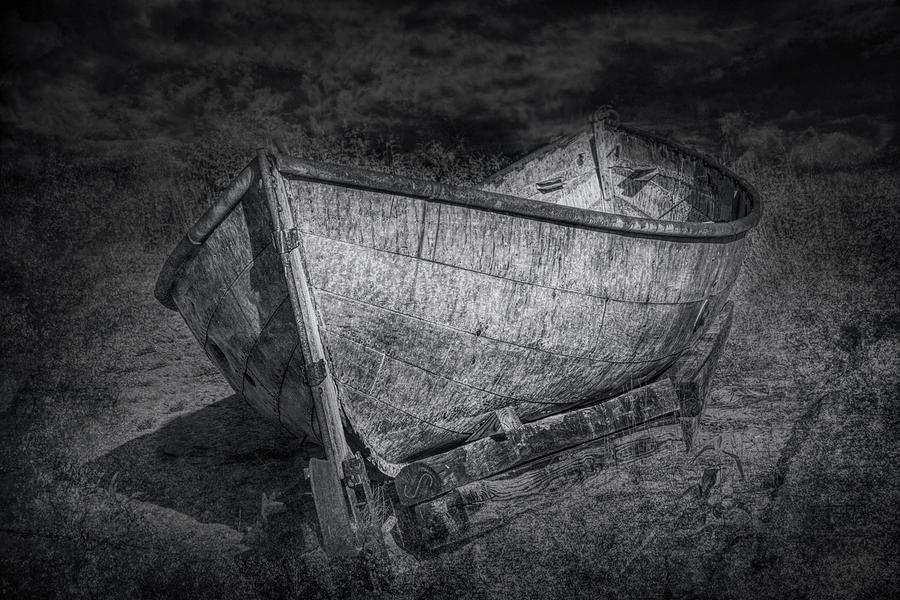 Landscape Photograph - Fishing Boat On Shore In Black And White by Randall Nyhof