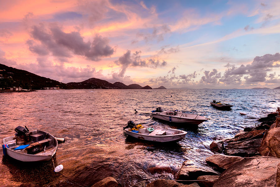 Sunset Photograph - Fishing Boats At A Firey Sunset by Anya Brewley Schultheiss