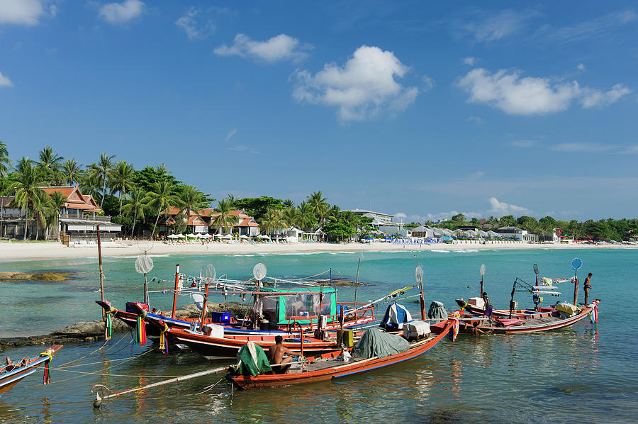 Fishing Boats At Chaweng Beach Photograph by Otto Stadler