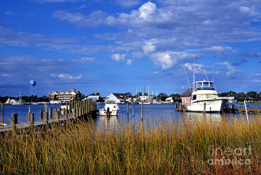 Dock Photograph - Fishing Boats At Dock Ocracoke Island by Thomas R Fletcher