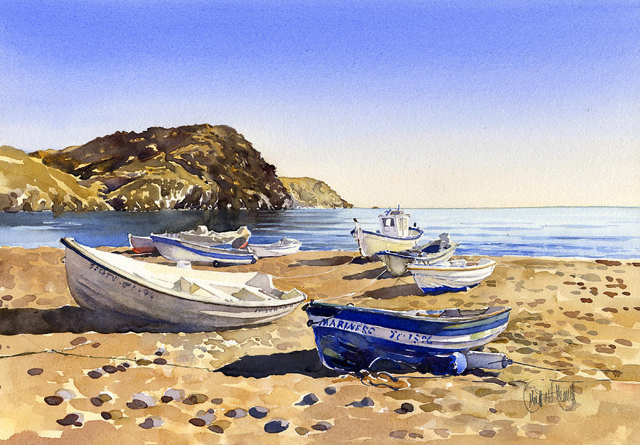 Watercolor Painting - Fishing Boats At Las Negras by Margaret Merry