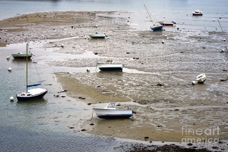 France Photograph - Fishing Boats At Low Tide by Olivier Le Queinec