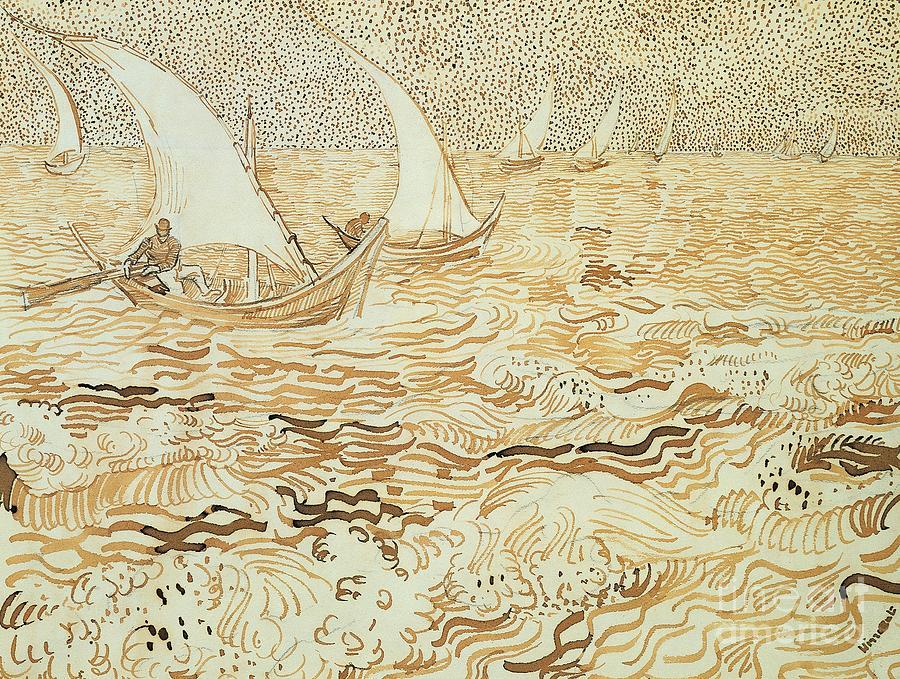 Painting Painting - Fishing Boats At Saintes Maries De La Mer by Vincent van Gogh