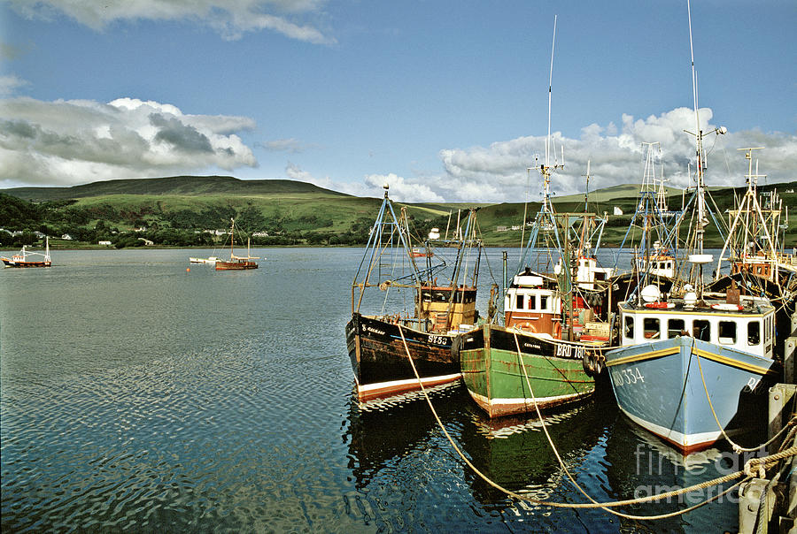 Boat Photograph - Fishing Boats At Uig Skye Scotland 1994 by David Davies