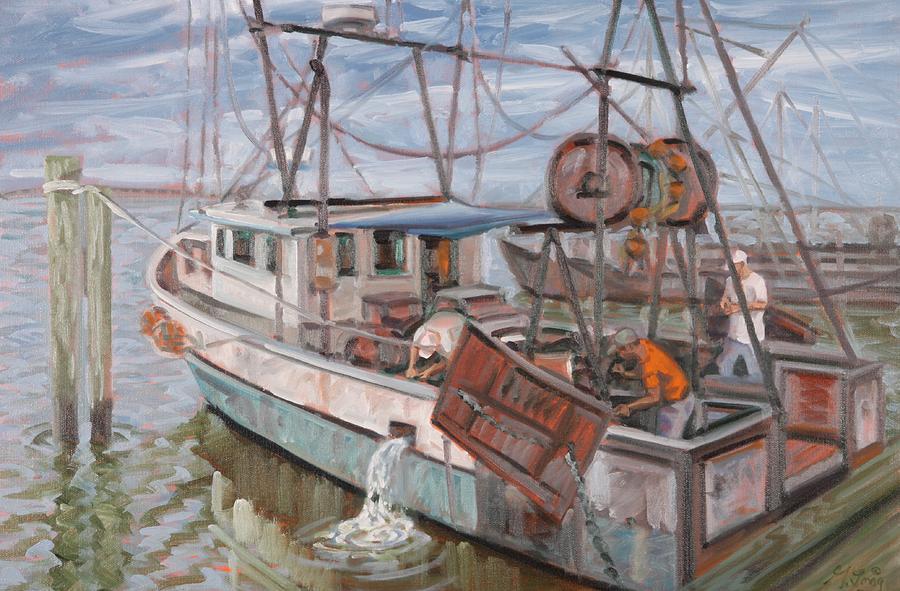 Fishing Boats Painting by Gary M Long