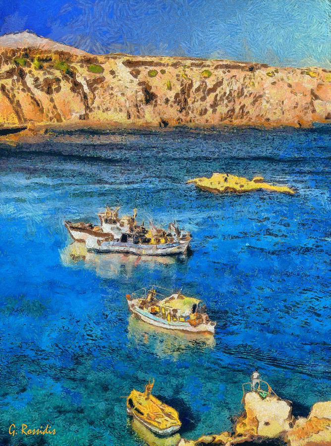 Rossidis Painting - Fishing Boats by George Rossidis