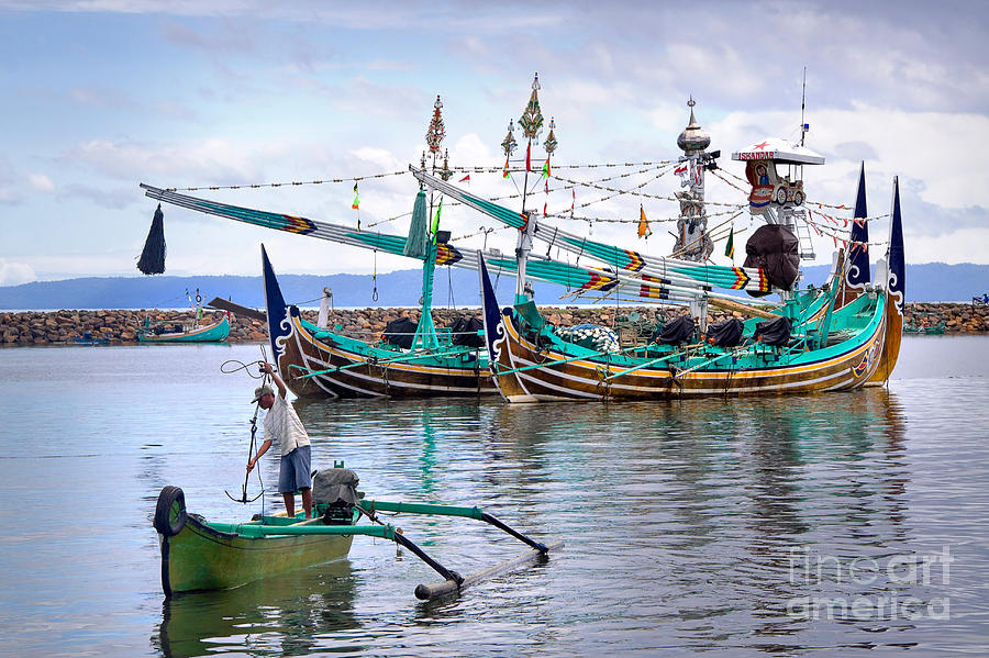 Travel Photograph - Fishing Boats In Bali by Louise Heusinkveld
