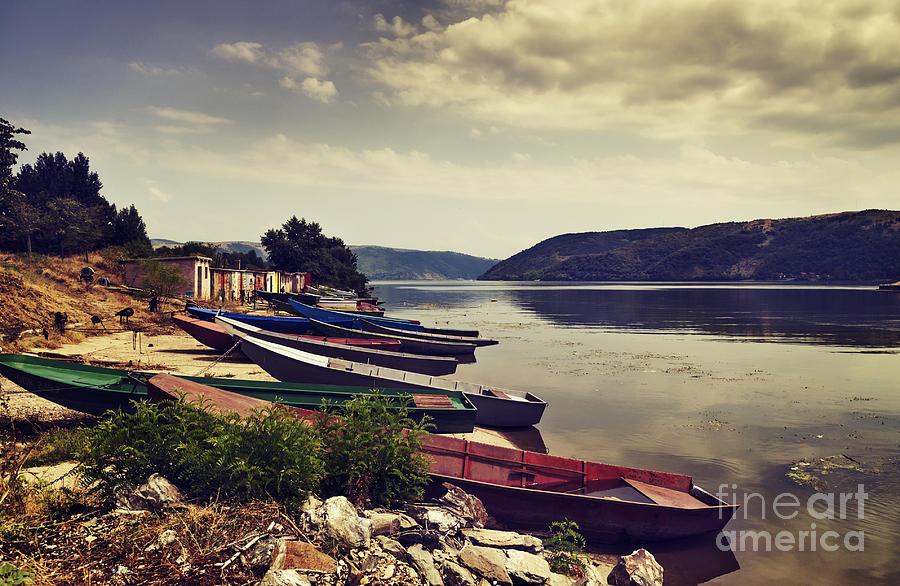Landscape Pyrography - Fishing Boats  by Jelena Jovanovic