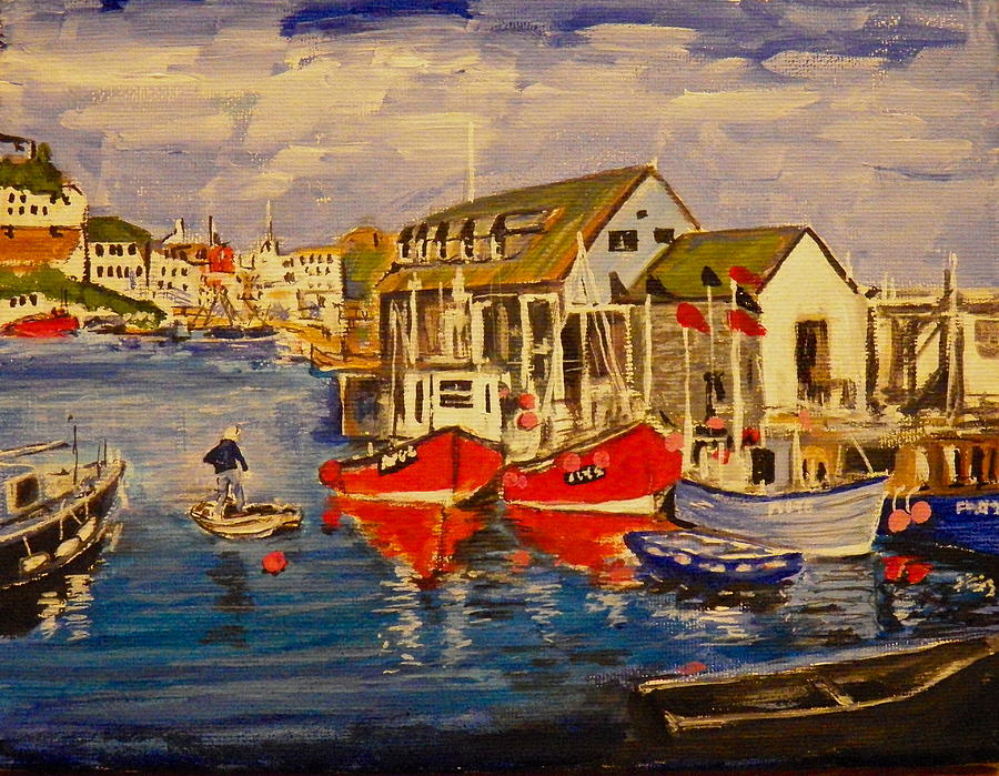 Seascape Painting - Fishing Boats by Jim  Reale