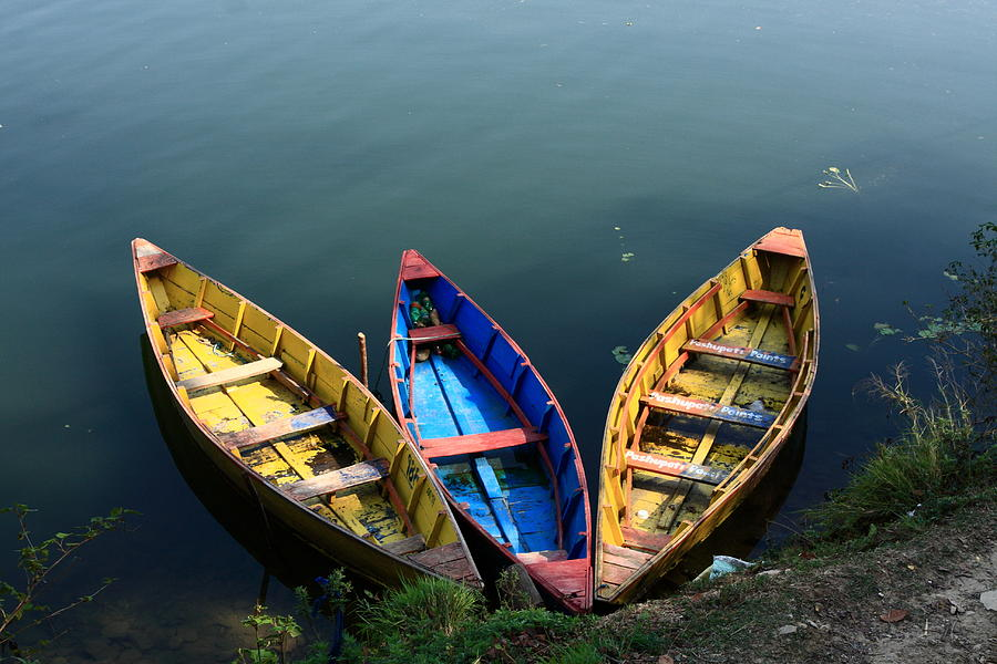Nepal Photograph - Fishing Boats - Nepal by Aidan Moran