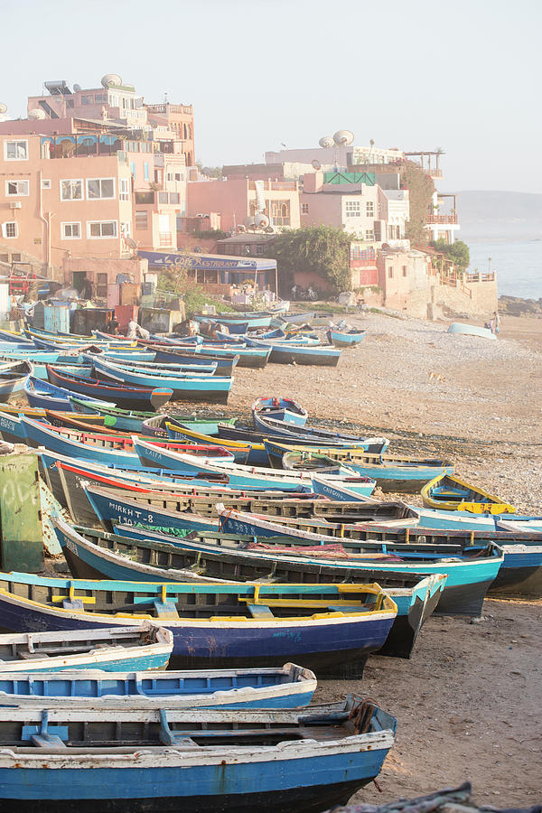 Fishing Boats On Beach, Taghazout Photograph by Tim E White