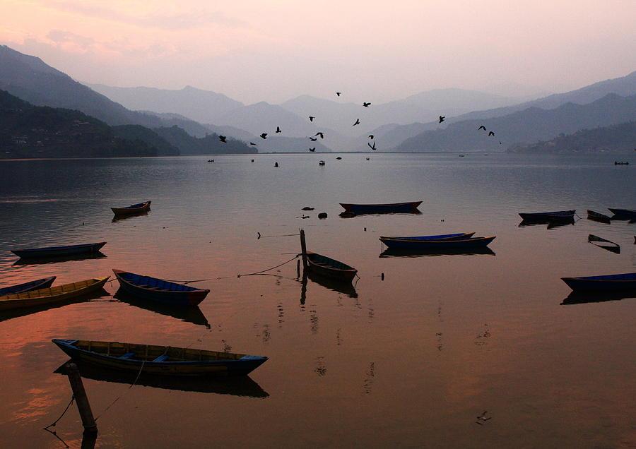 Sunset Photograph - Fishing Boats - Phewa Lake - Nepal by Aidan Moran
