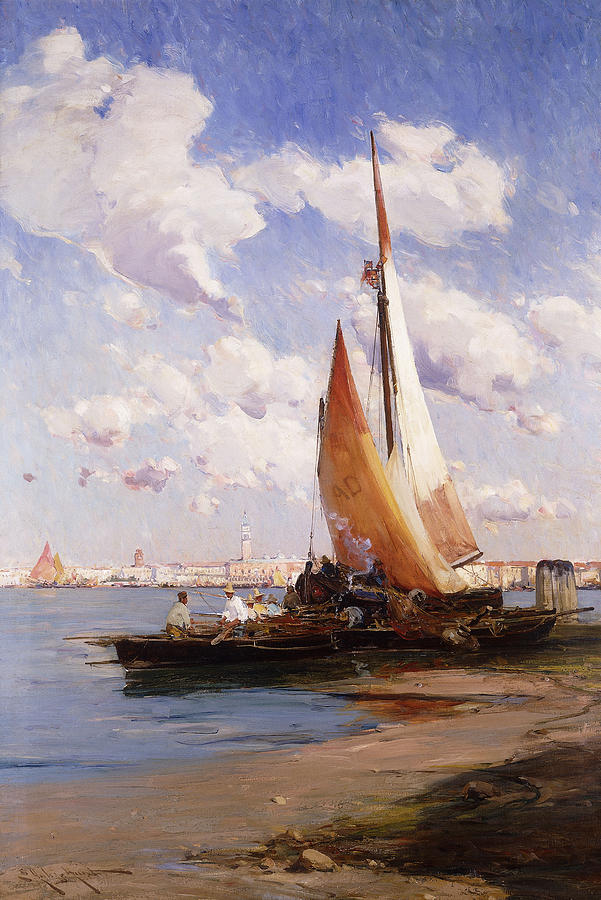 British Painting - Fishing Craft With The Rivere Degli Schiavoni Venice by E Aubrey Hunt