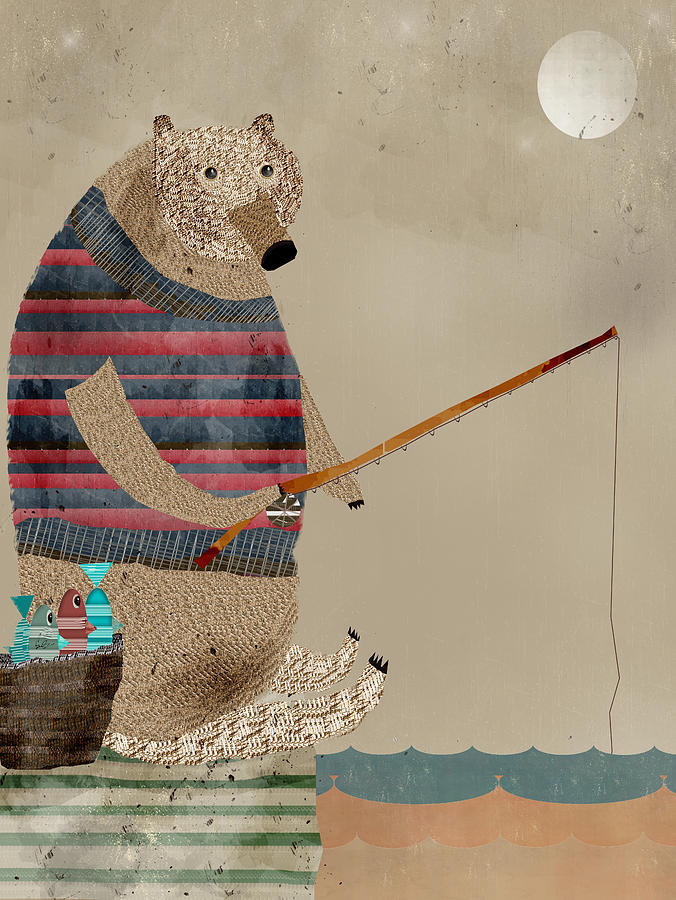Bears Painting - Fishing For Supper by Bri Buckley