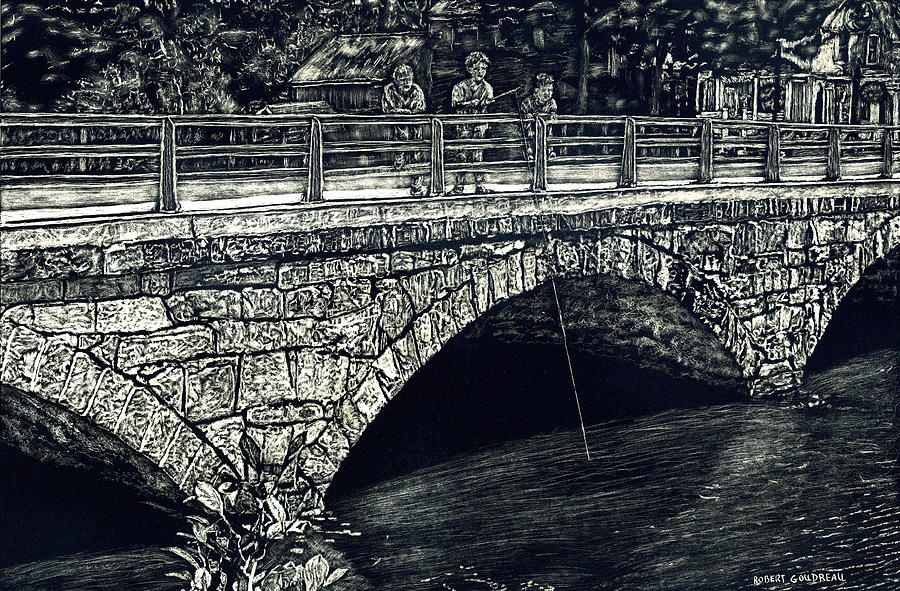Stone Bridge Painting - Fishing from the stone Arched Bridge by Robert Goudreau