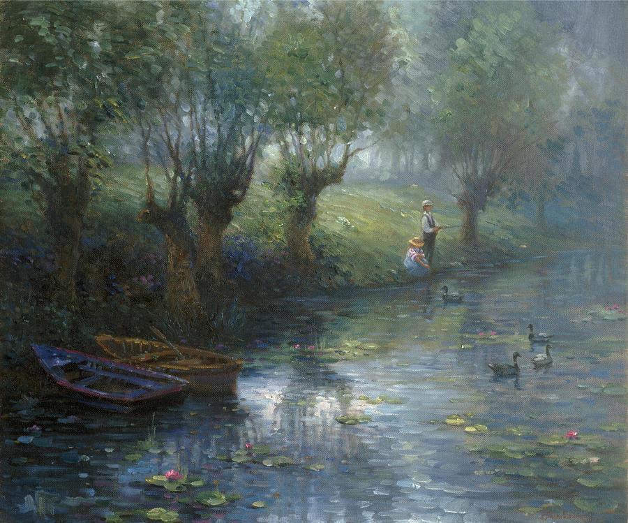 Woman Painting - Fishing by Ghambaro