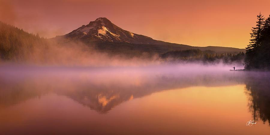 Trillium Lake Photograph - Fishing In The Fog by Lori Grimmett
