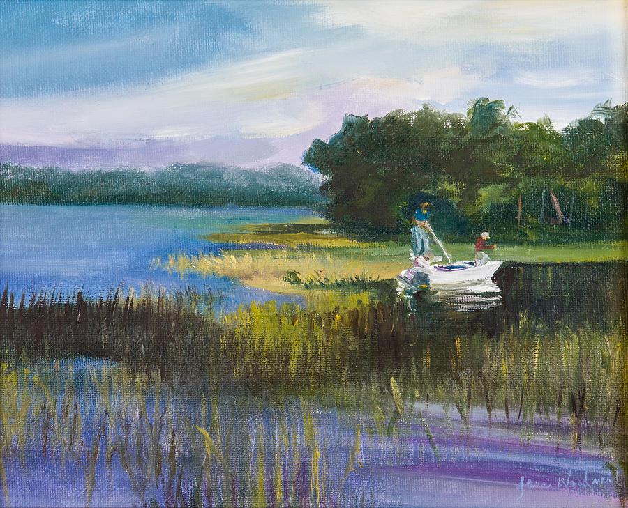 Jane Woodard Painting - Fishing by Jane Woodward