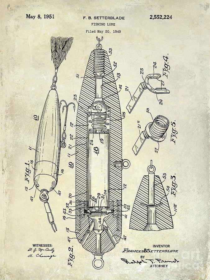 Fishing Basket Photograph - Fishing Lure Patent  by Jon Neidert