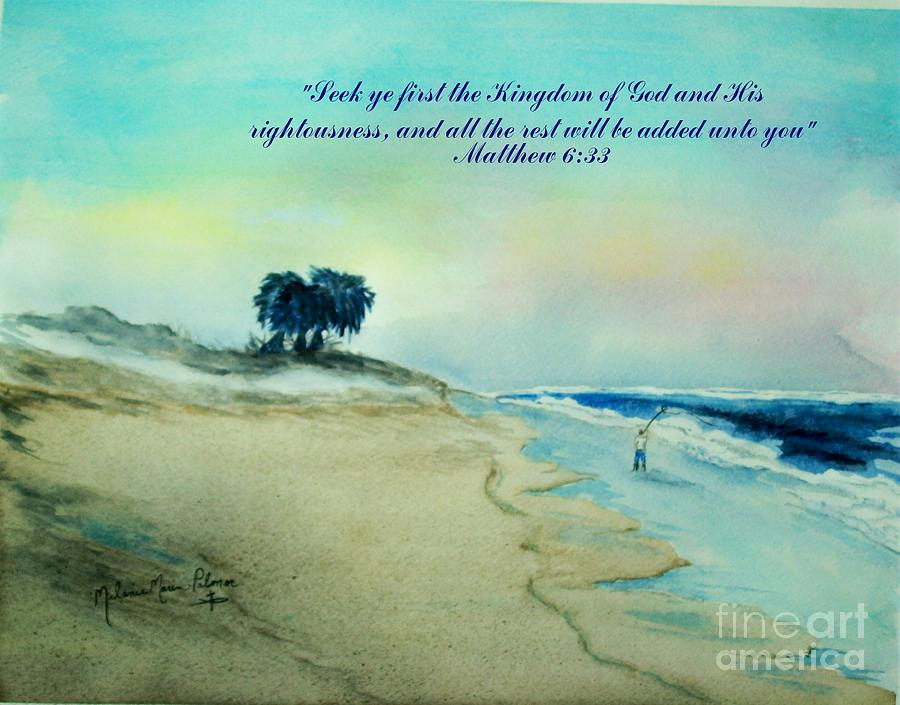 Fishing on the beach at sunrise with scripture painting by for Bible verses about fish
