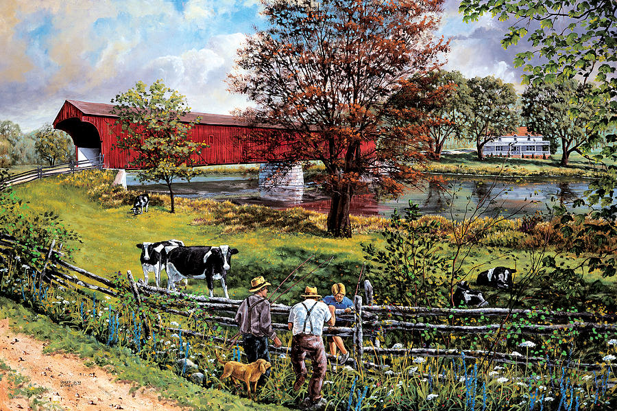 Covered Bridge Painting - Fishing Pals by Roger Witmer