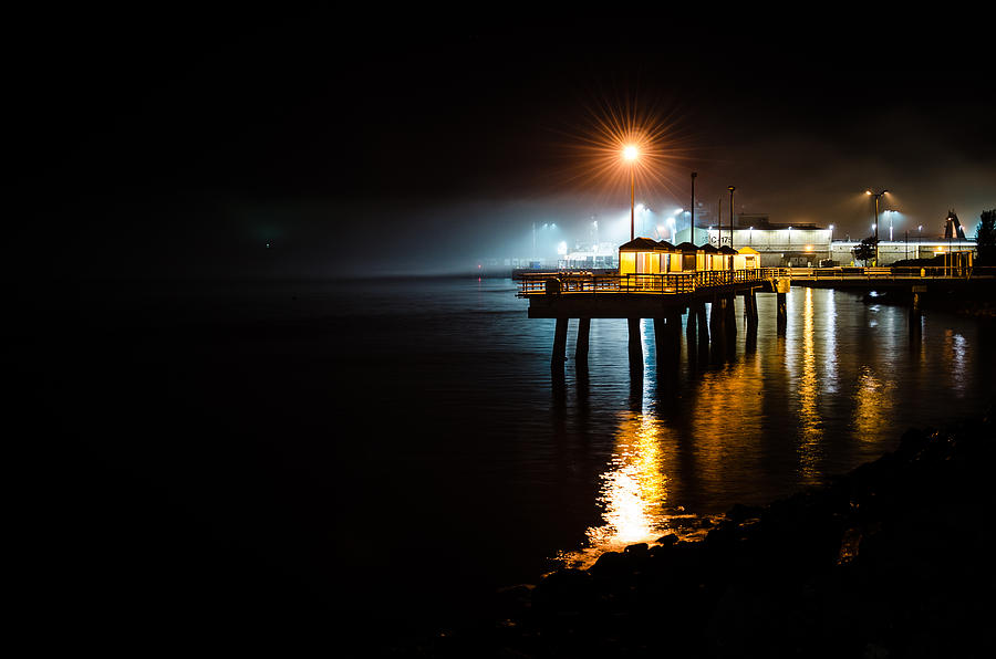 Puget Sound Photograph - Fishing Pier At Night by Brian Xavier