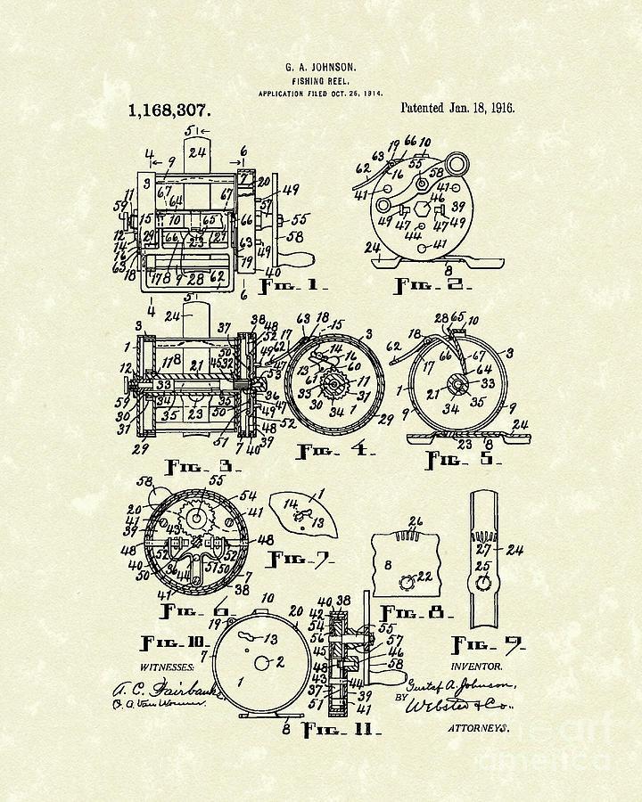 Johnson Drawing - Fishing Reel 1916 Patent Art by Prior Art Design