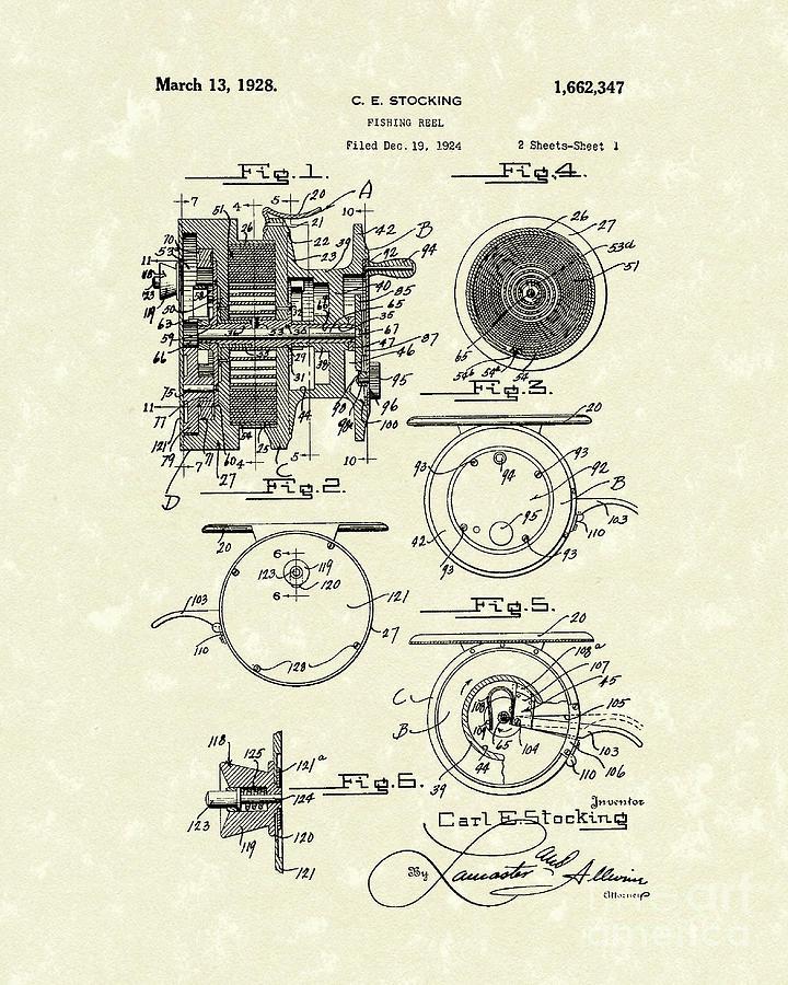 Fishing Reel 1928 Patent Art Drawing By Prior Art Design