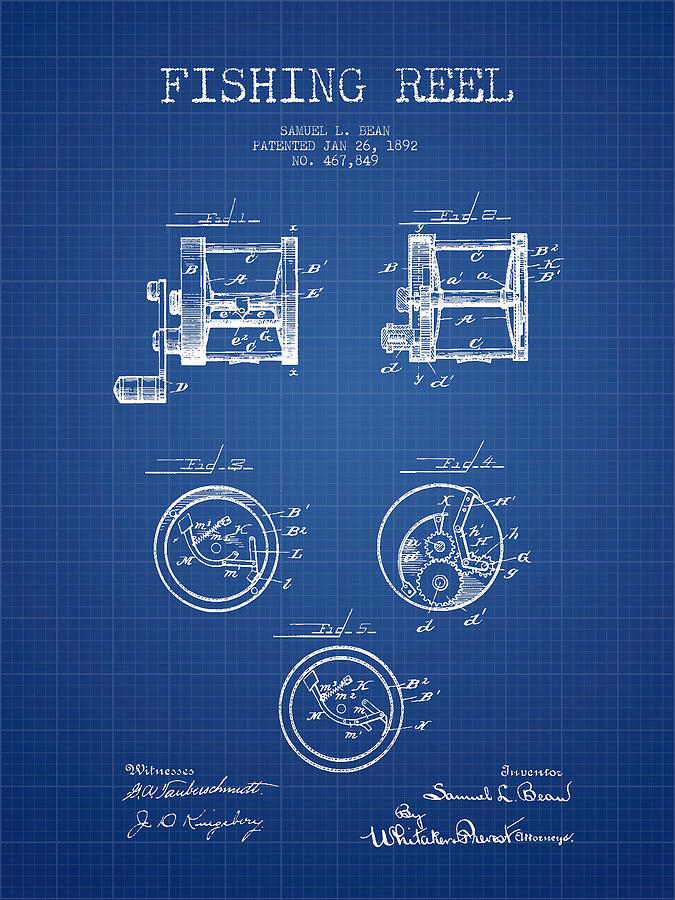 Fishing reel patent from 1892 blueprint digital art by aged pixel fishing reel digital art fishing reel patent from 1892 blueprint by aged pixel malvernweather Image collections
