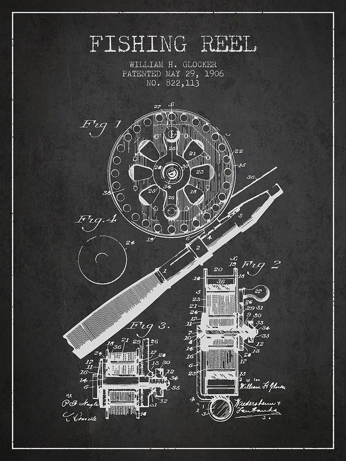 Fishing Reel Digital Art - Fishing Reel Patent From 1906 - Charcoal by Aged Pixel