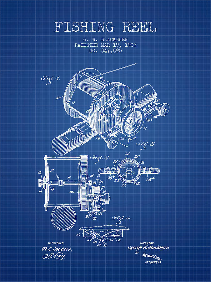 Fishing Reel Digital Art - Fishing Reel Patent From 1907 - Blueprint by Aged Pixel