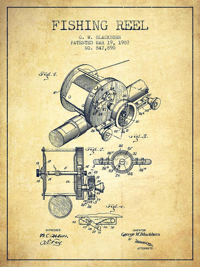 Fishing Reel Digital Art - Fishing Reel Patent From 1907 - Vintage by Aged Pixel