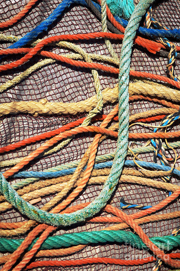 Abstract Photograph - Fishing Ropes And Net by Carlos Caetano