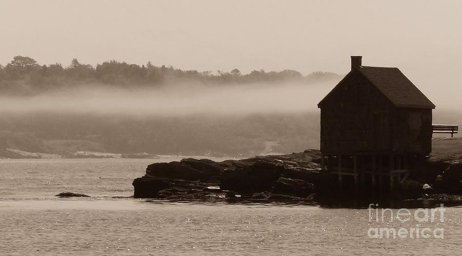 Fishing Shack In The Fog On Willard Beach South Portland Maine Photograph by Christine Stack