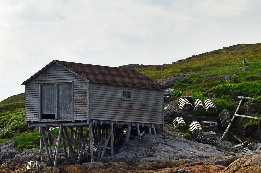 Fishing Stage with Lobster Pots Newfoundland by Lisa Phillips
