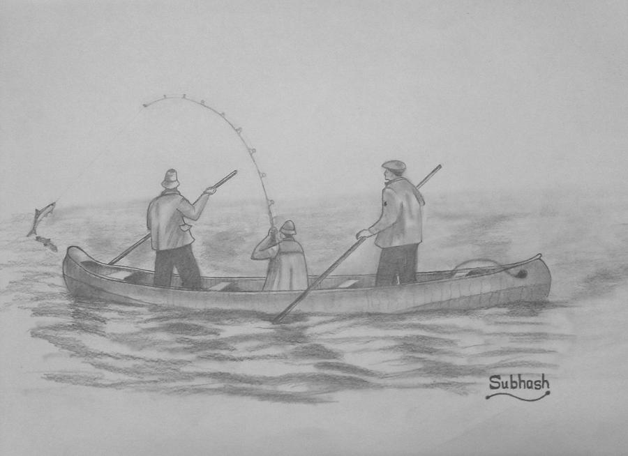 Fishing Drawing - Fishing..... by Subhash Mathew
