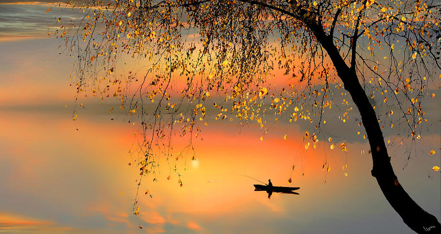 Water Digital Art - Fishing Sunset by Igor Zenin
