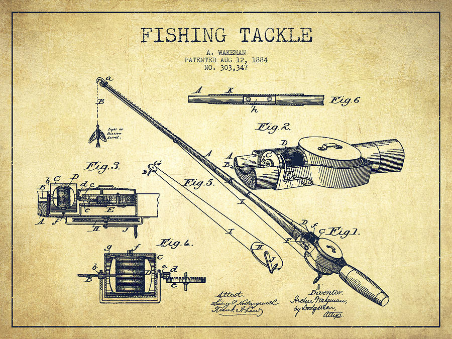 Fishing Tackle Digital Art - Fishing Tackle Patent From 1884 by Aged Pixel