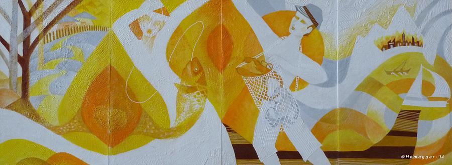 Fishing Painting - Fishing Trip-a Four Panel Painting by Hemu Aggarwal