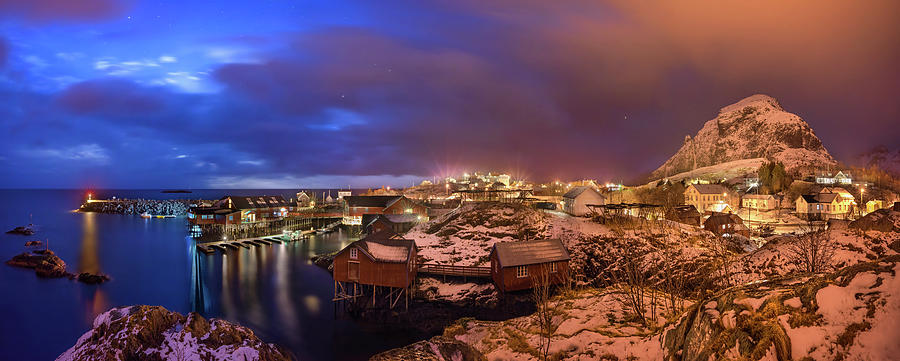 Horizontal Photograph - Fishing Village At Night, Lofoten by Panoramic Images