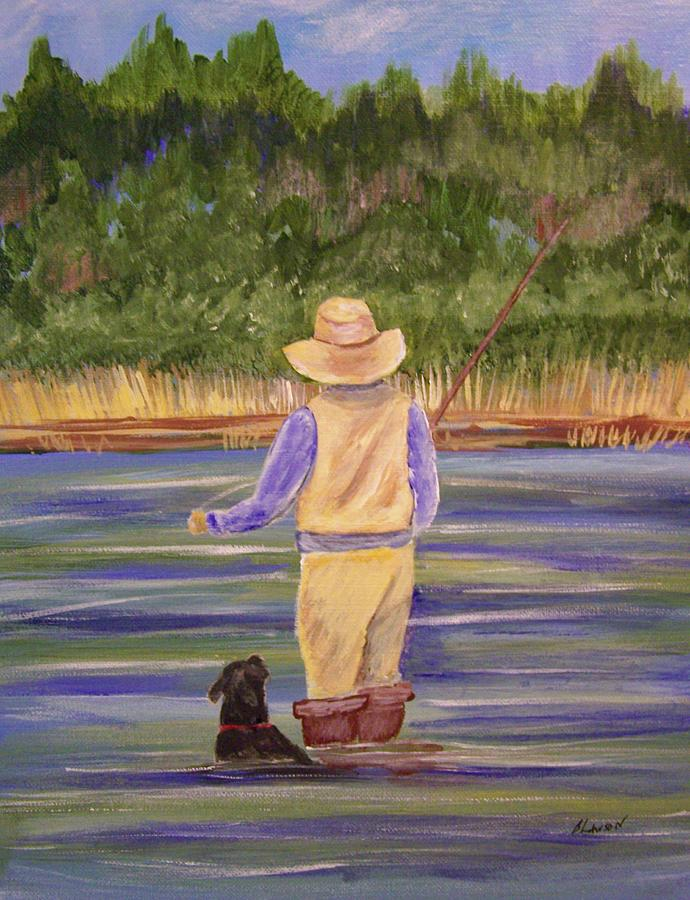 Landscape Painting - Fishing With Dog by Belinda Lawson