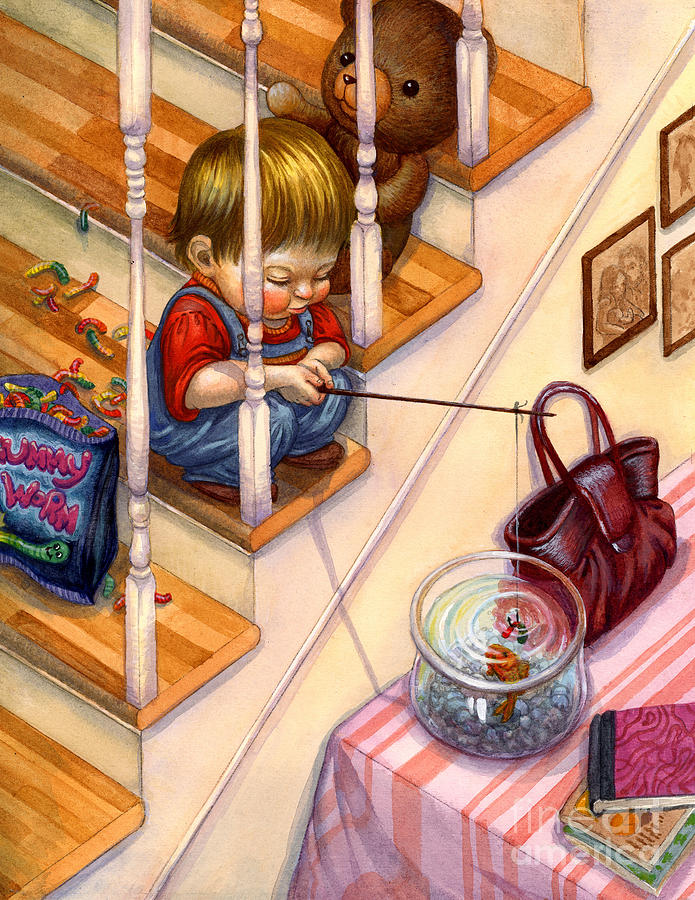 Fishing Painting - Fishing With Gummies by Isabella Kung