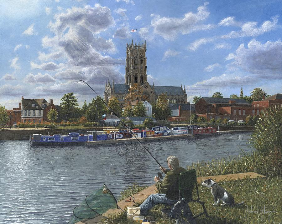 Fishing With Oscar - Doncaster Minster Painting