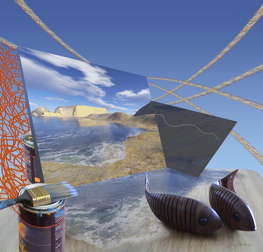 Fishing Digital Art - Fishing With Paint by Jennifer Kathleen Phillips