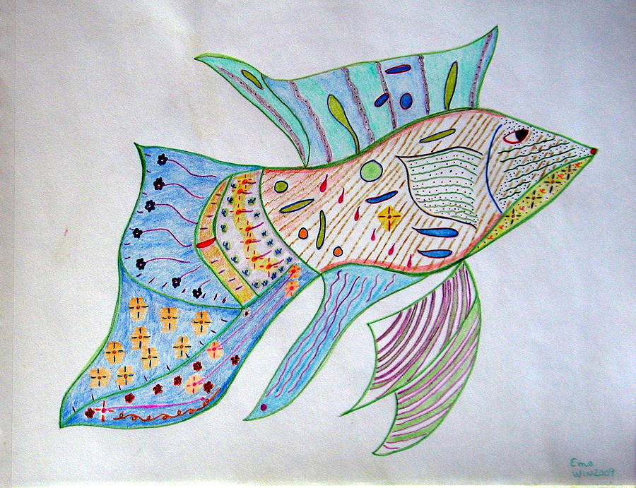 Aquatic World Drawing - Fishstiqueart 2009 by Elmer Baez