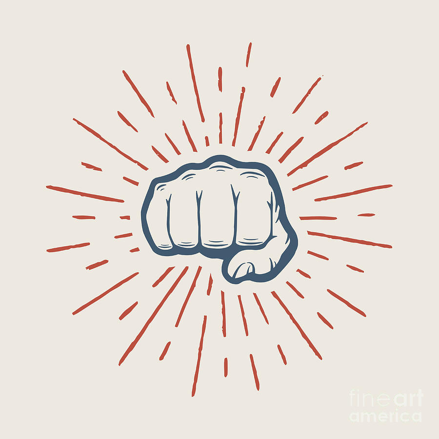 Symbol Digital Art - Fist With Sunbursts In Vintage Style by Akimd