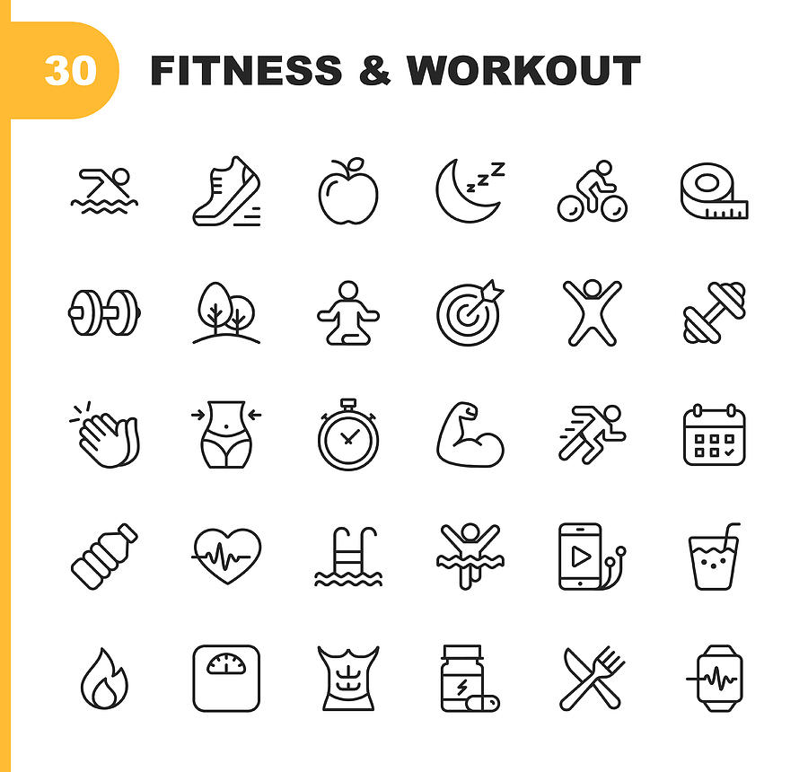 Fitness and Workout Line Icons. Editable Stroke. Pixel Perfect. For Mobile and Web. Contains such icons as Bodybuilding, Heartbeat, Swimming, Cycling, Running, Diet. Drawing by Rambo182