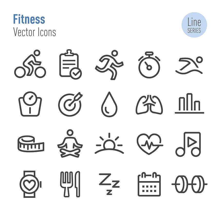 Fitness Icons - Vector Line Series Drawing by -victor-